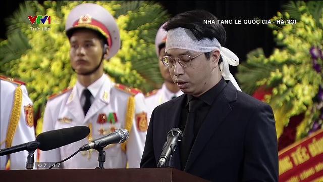 Ông Trần Quân đại diện gia đình phát biểu tại lễ truy điệu Chủ tịch nước Trần Đại Quang