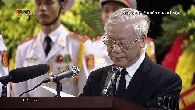 Tổng bí thư Nguyễn Phú Trọng phát biểu tại lễ truy điệu Chủ tịch nước Trần Đại Quang