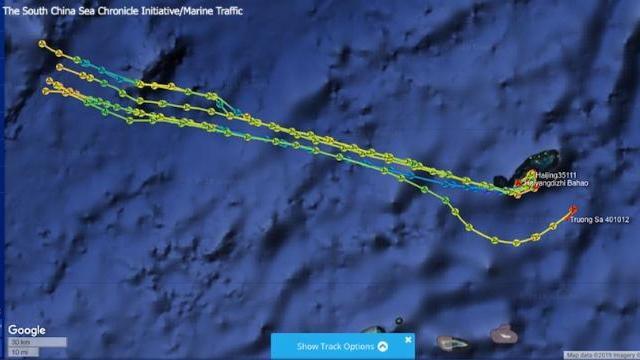 Tàu Hải Dương Địa Chất 8 cùng nhóm tàu hải cảnh hướng ra khu vực Đá Chữ Thập