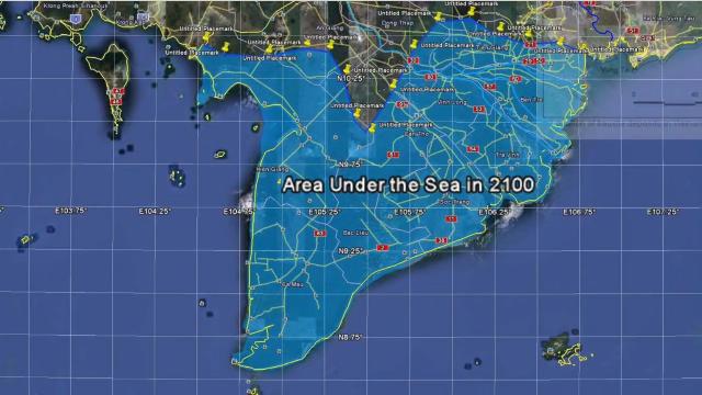 Đến năm 2100 phần lớn Đồng Bằng Sông Cửu Long có thể bị chìm xuống biển