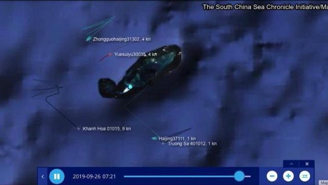 Tàu Khánh Hòa lao tới tiếp viện cho tàu Trường Sa rượt đuổi tàu hải cảnh Trung Quốc