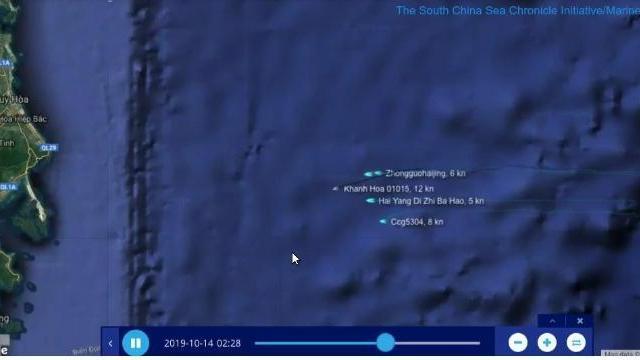 Ba tàu hải cảnh Trung Quốc quần thảo với tàu Khánh Hòa ngoài vịnh Vân Phong
