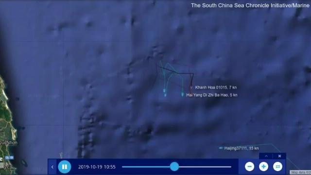 Tàu Khánh Hòa đuổi tàu Hải Dương Địa Chất 8 Ngày 19/10/2019