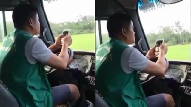 Tài xế vừa lái xe vừa lướt điện thoại khiến hành khách hoang mang