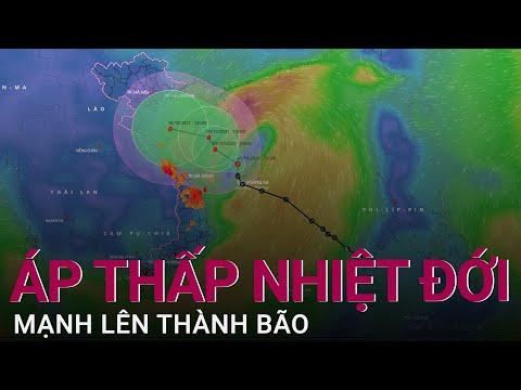 Trực tiếp: Áp thấp nhiệt đới mạnh lên thành bão giật cấp 12, hướng vào miền Trung