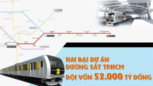 Hai đại dự án đường sắt Tp.HCM đội vốn 52.000 tỷ đồng