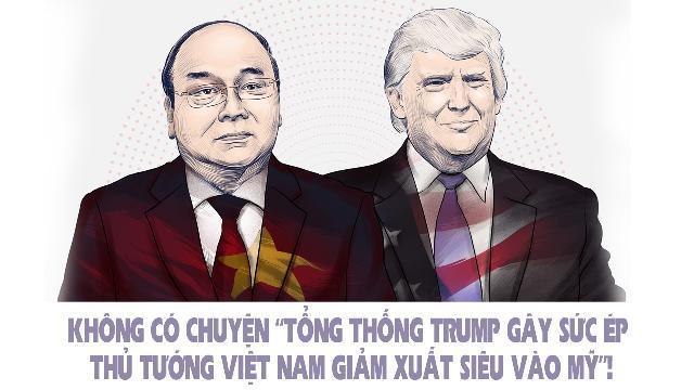 """Không có chuyện """"Tổng thống Trump gây sức ép Thủ tướng Việt Nam giảm xuất siêu vào Mỹ""""!"""