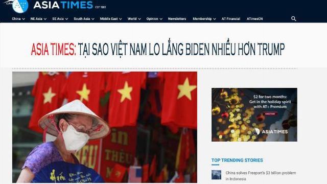 Asia Times: Tại sao Việt Nam lo lắng Biden nhiều hơn Trump