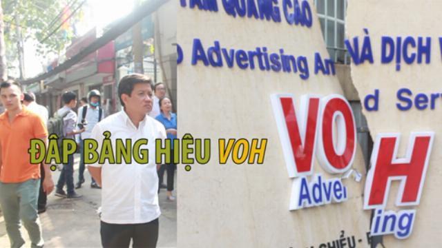 Quận 1 đập bảng hiệu trên vỉa hè Đài tiếng nói nhân dân TP.HCM VOH