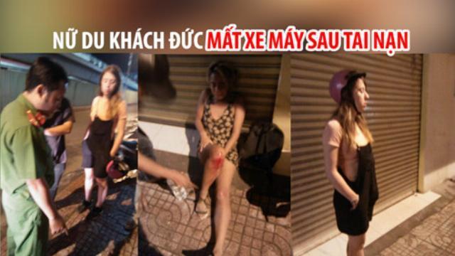Hình ảnh 2 nữ du khách thẫn thờ và các nhân chứng kể lại khoảnh khắc cô gái bị mất xe Wave