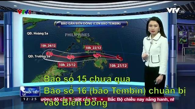 Bão số 15 chưa đi, bão số 16 (bão Tembin) chuẩn bị vào Biển Đông gió cấp 12