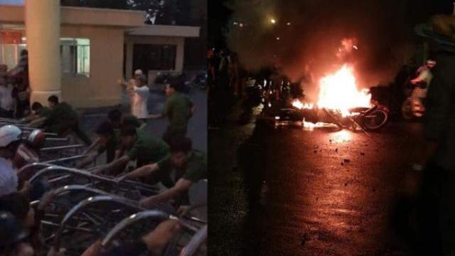 Đám đông tràn vào trụ sở UBND tỉnh Bình Thuận tối 10-6