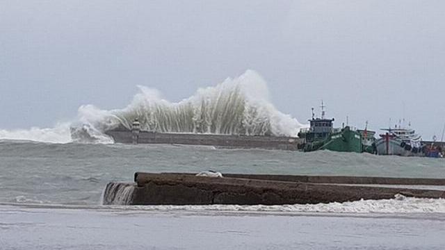 Clip sóng cao 9m cuộn chân giàn khoan ở Vũng Tàu