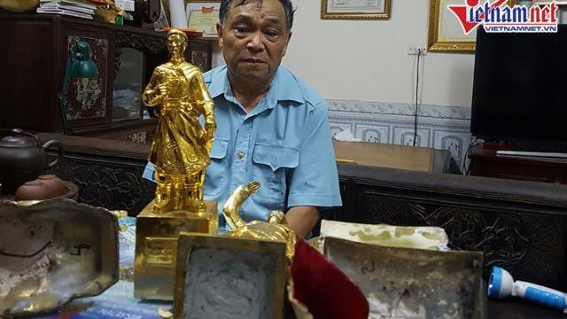 Nhét sắt, nhồi xi măng vào tượng Phật dát vàng bán theo cân.mp4