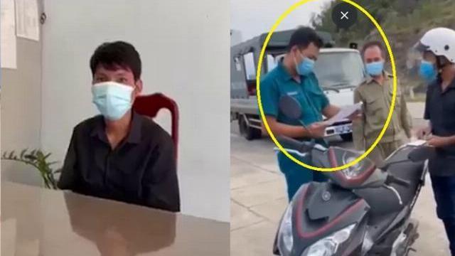 Clip việc cán bộ tổ liên ngành phường Vĩnh Hoà xử lý, thu giữ xe anh T.V.E. Clip đăng trên Facebook.